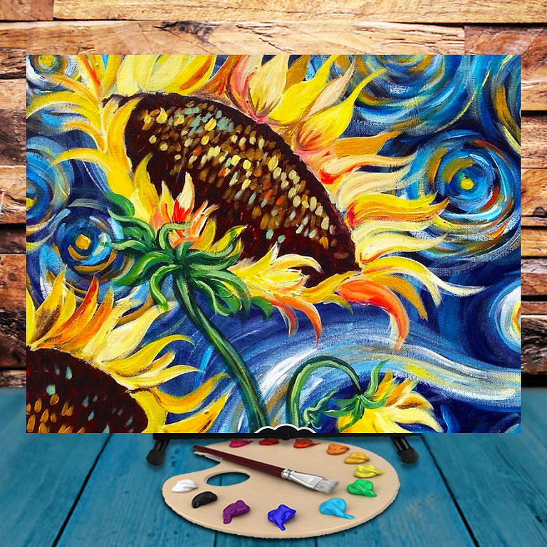 Van Gogh Sunflowers -  Step by Step Painting Class