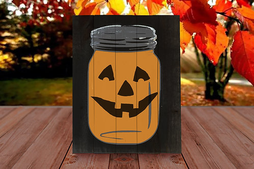 Mason Jar Pumpkin - Woodsign Making Experience