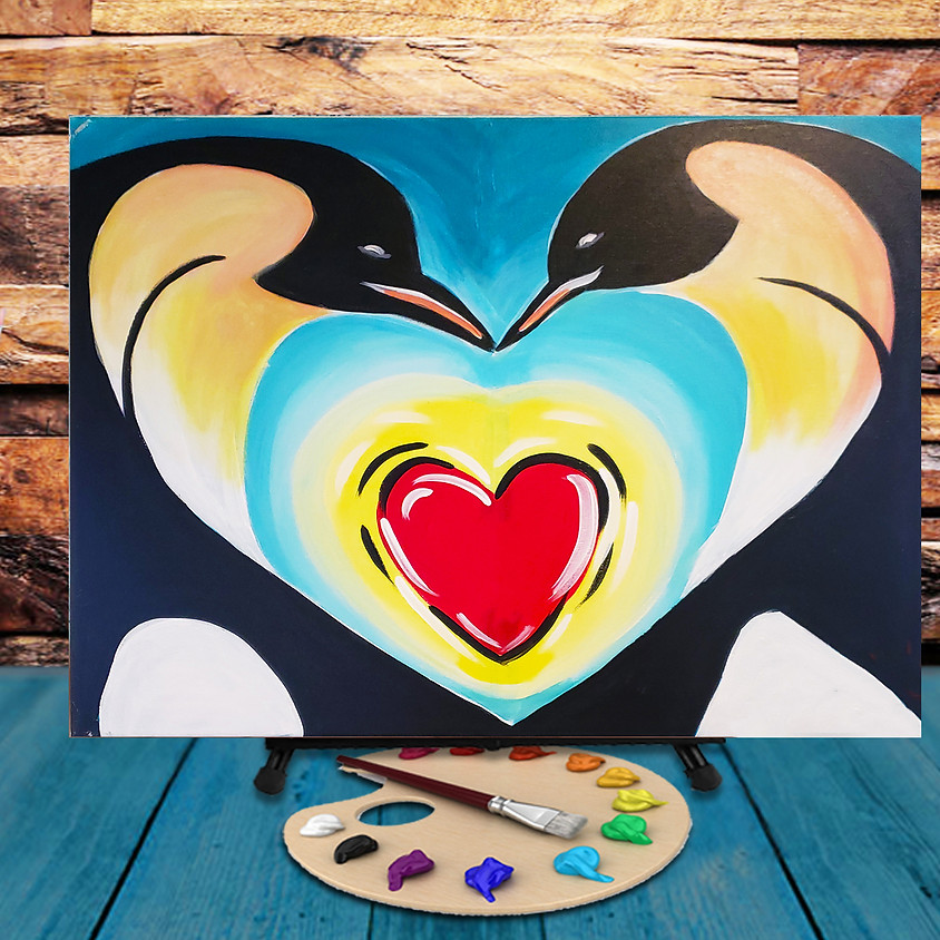 Penguin Kiss -  Step by Step Painting Class