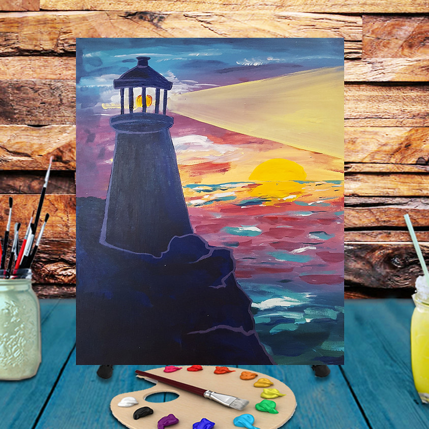 Night Lighthouse -  Step by Step Painting Class