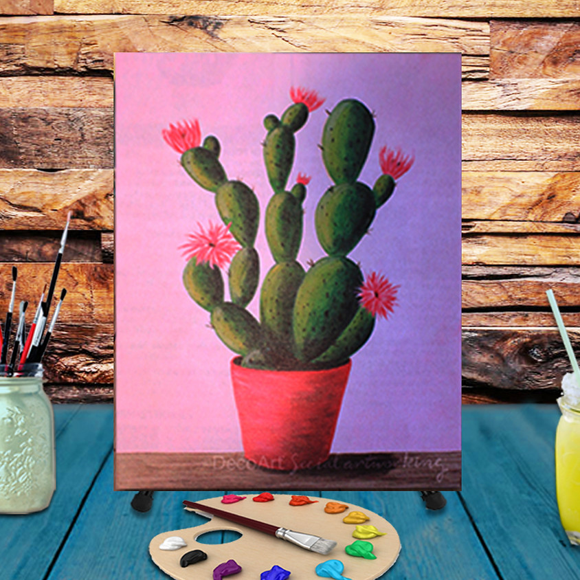 Cactus in Bloom -  Step by Step Painting Class