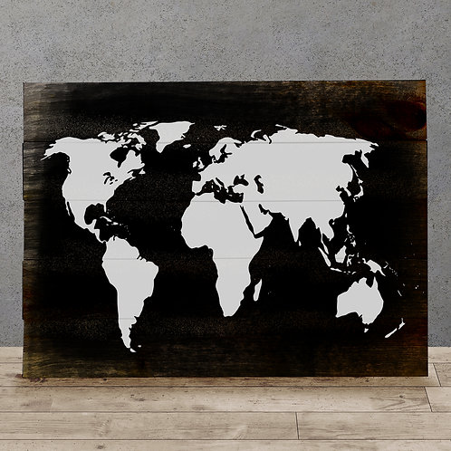 World Map - Wood Sign Experience