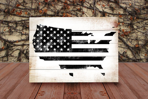 USA Map Flag - Wood Sign Experience