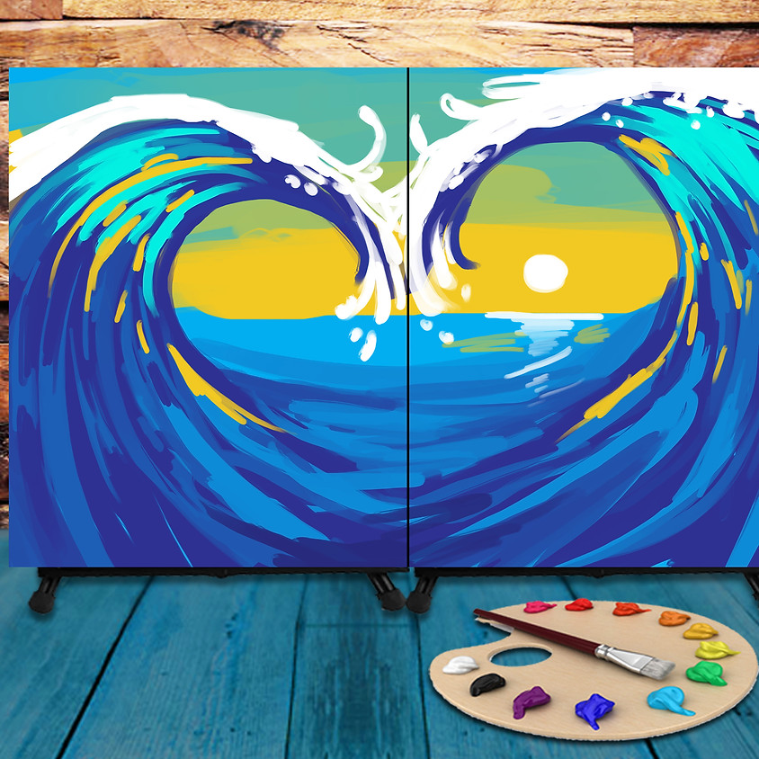 Couple's Virtual Date - Step by Step Painting Class - Love Waves