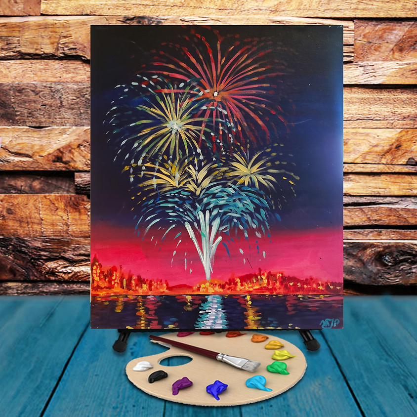 Lakefront Fireworks -  Step by Step Painting Class
