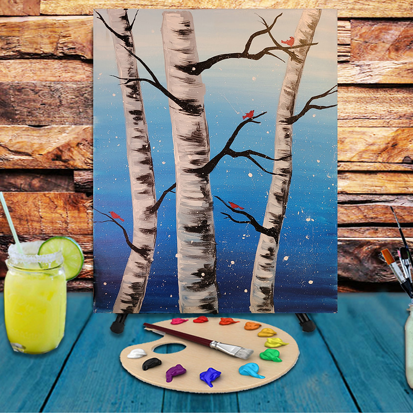 Birch Cardinals -  Step by Step Painting Class