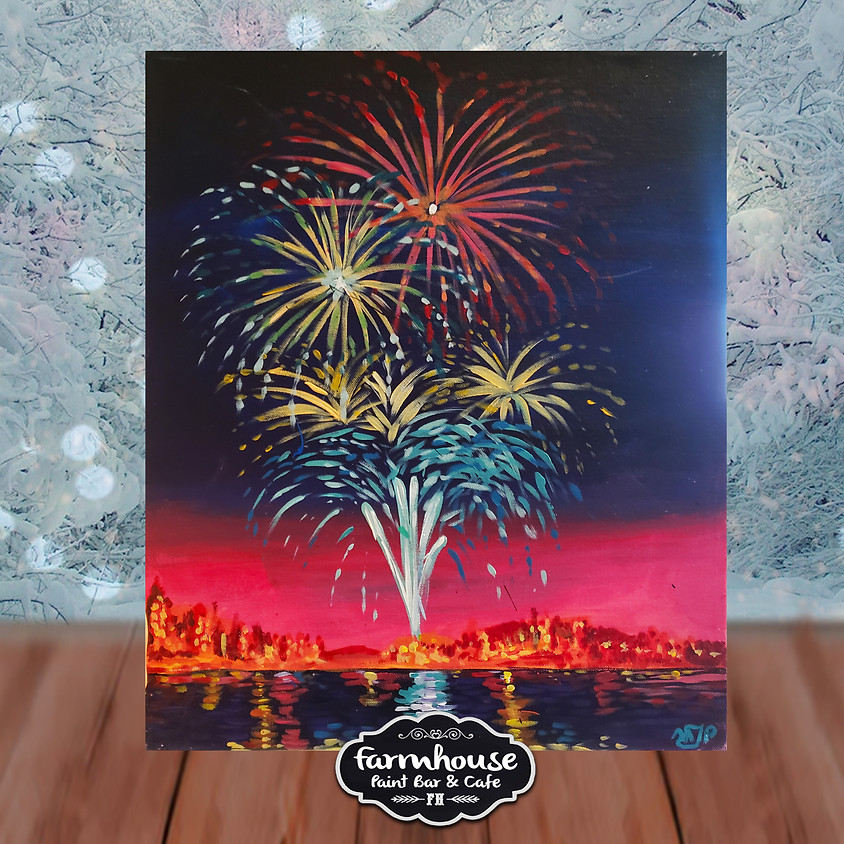 Lakefront Fireworks - Virtual Step by Step Painting Class