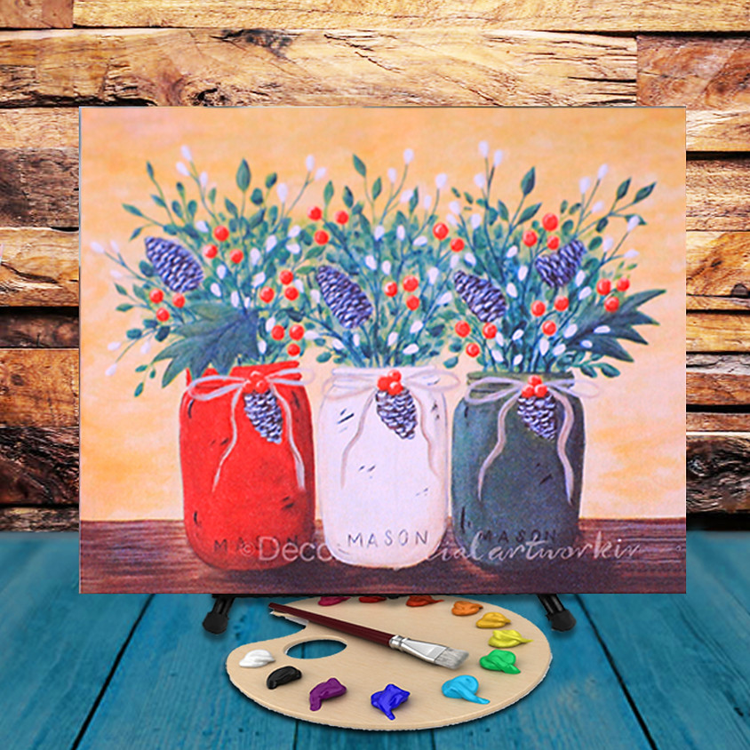 Christmas Mason Jars - Virtual Step by Step Painting Class
