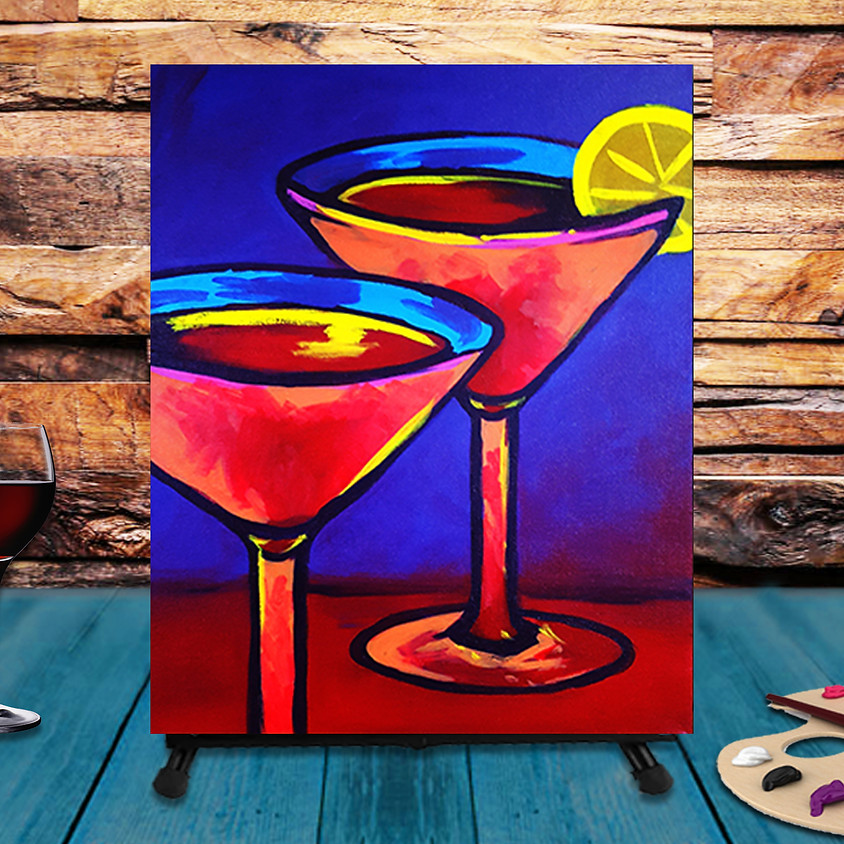 Drinks for Two! - Virtual Step by Step Painting Class