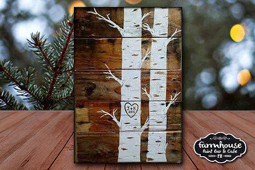 Birch Trees - Wood Sign Experience