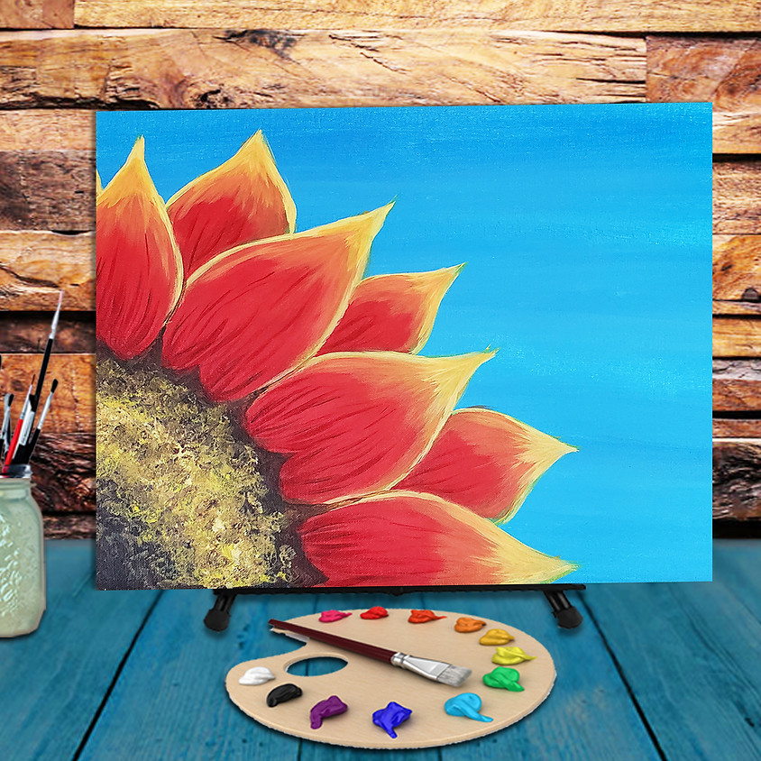 Red sunflowe - Virtual Step by Step Painting Class