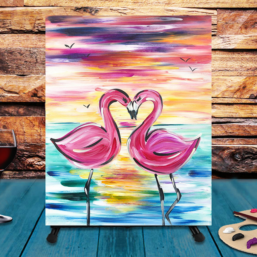 Flamingo Couple-  Step by Step Painting Class