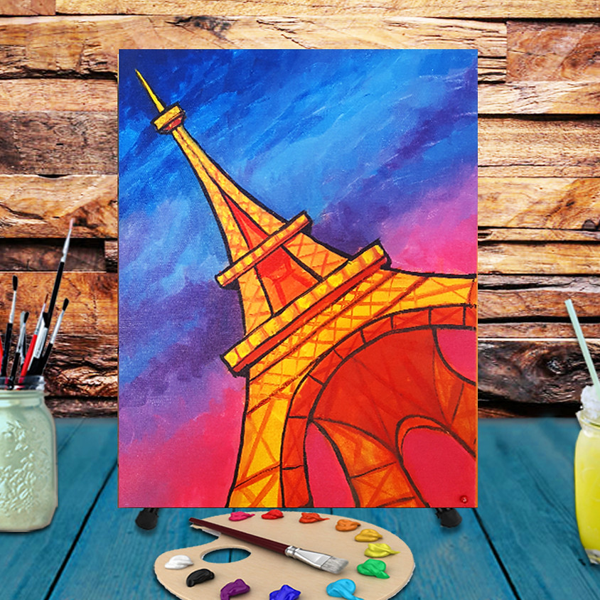 Eiffel Tower - Virtual Step by Step Painting Class