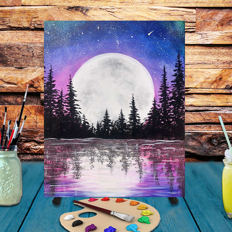 Lake Moonrise -  Step by Step Painting Class
