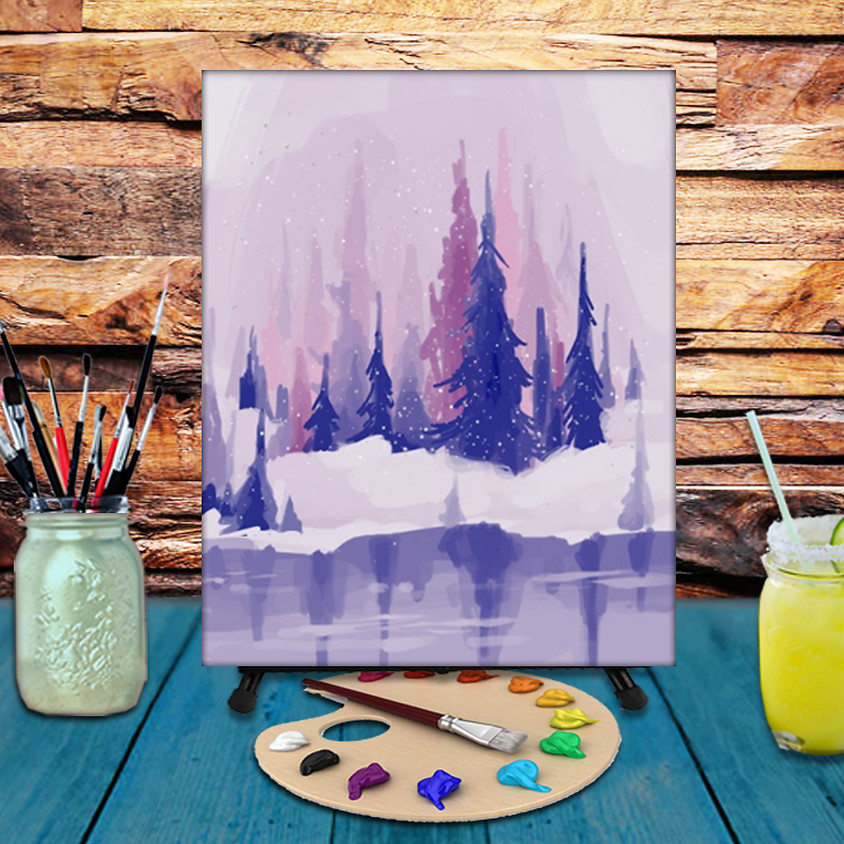 Purple Winter - Virtual Step by Step Painting Class