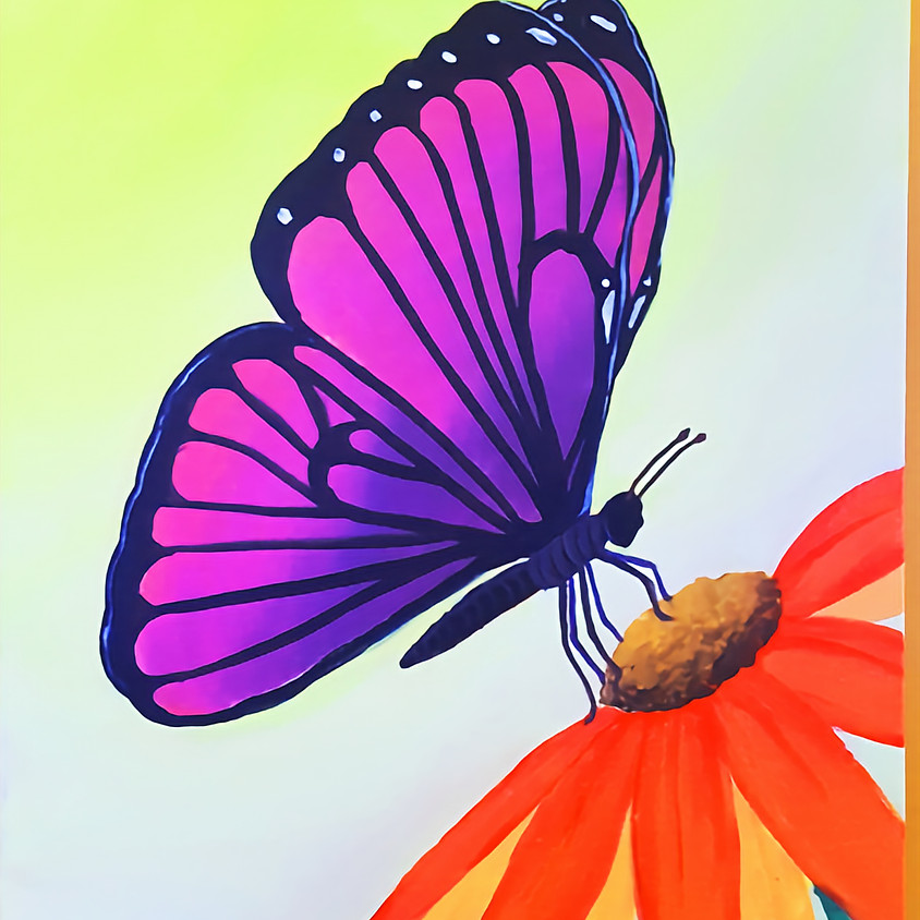 Butterfly Sunflower- Plein Air Step by Step Painting Class