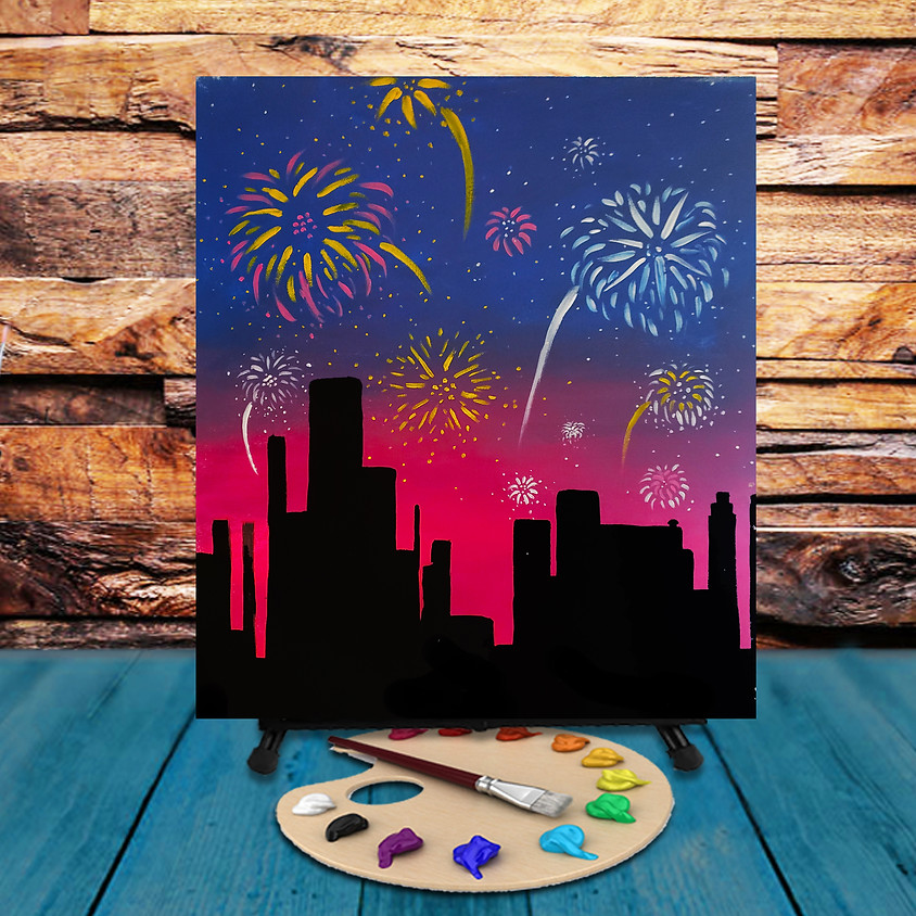 Skyline Fireworks - Virtual Step by Step Painting Class