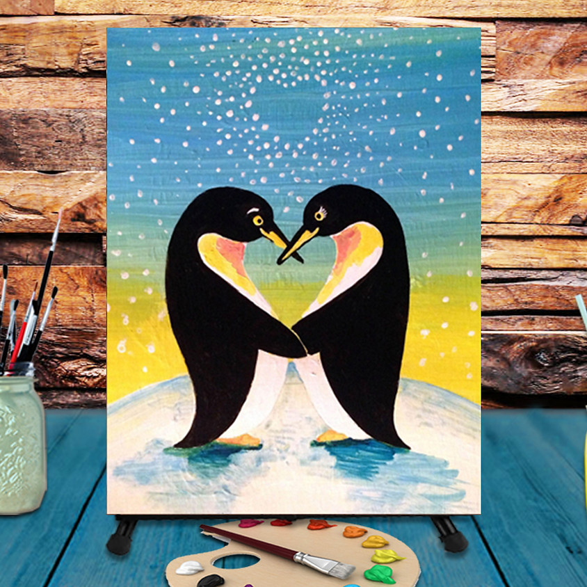 Penguin Love - Virtual Step by Step Painting Class
