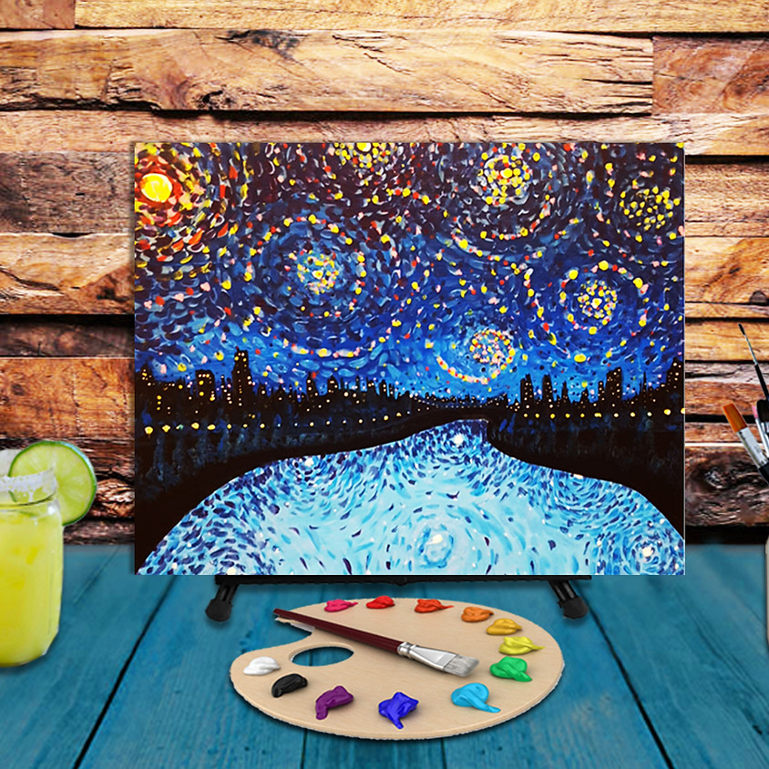 Starry Night City -  Step by Step Painting Class