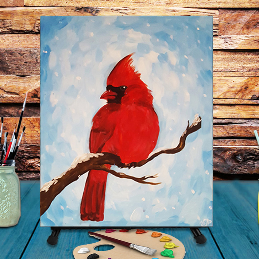 Cardinal in the Snow -  Step by Step Painting Class
