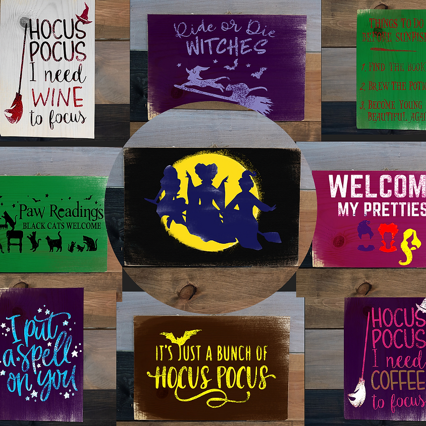 Witches Ball - Step by Step Hocus Pocus Wood Sign Workshop