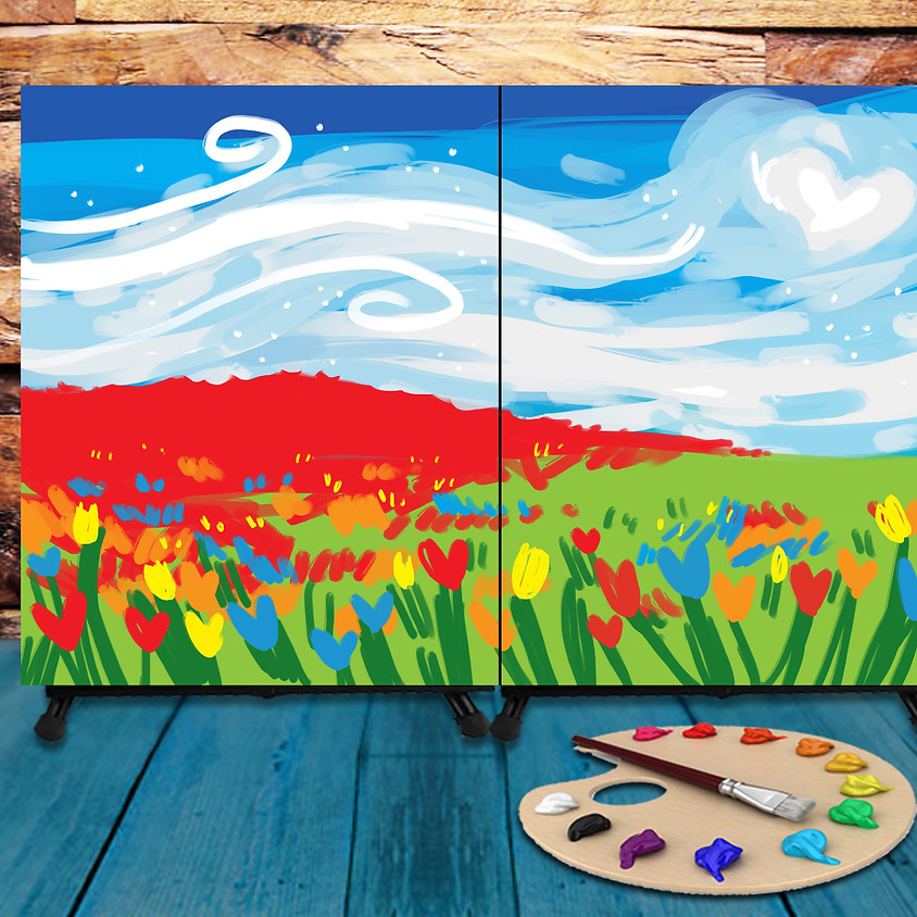Couple's Virtual Date - Step by Step Painting Class - Love Field