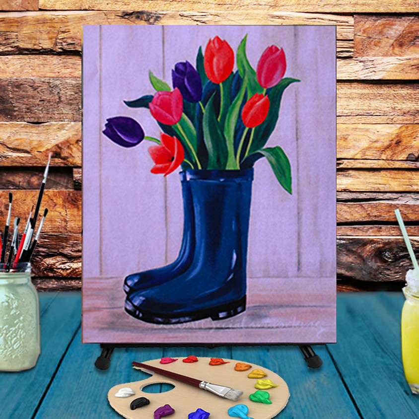 Boot Bouquet -  Step by Step Painting Class