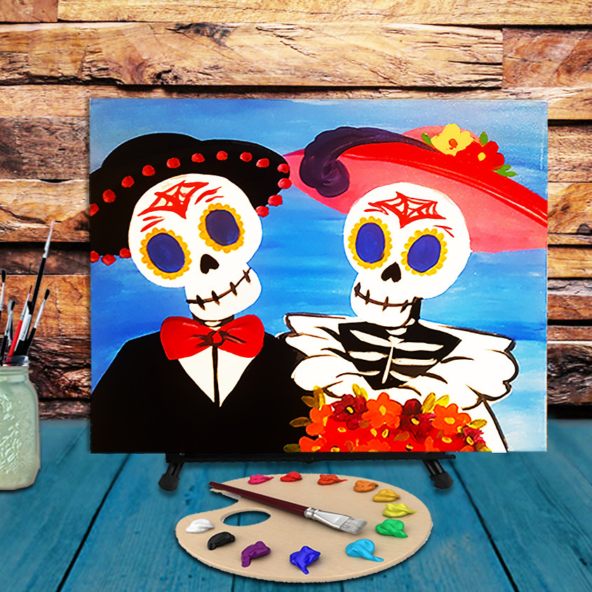 Skeleton Couple - Virtual Step by Step Painting Class (1)