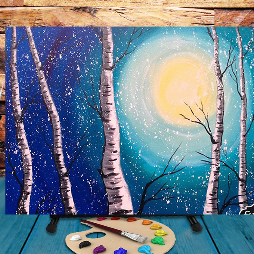 Moon & Snow  -  Step by Step Painting Class