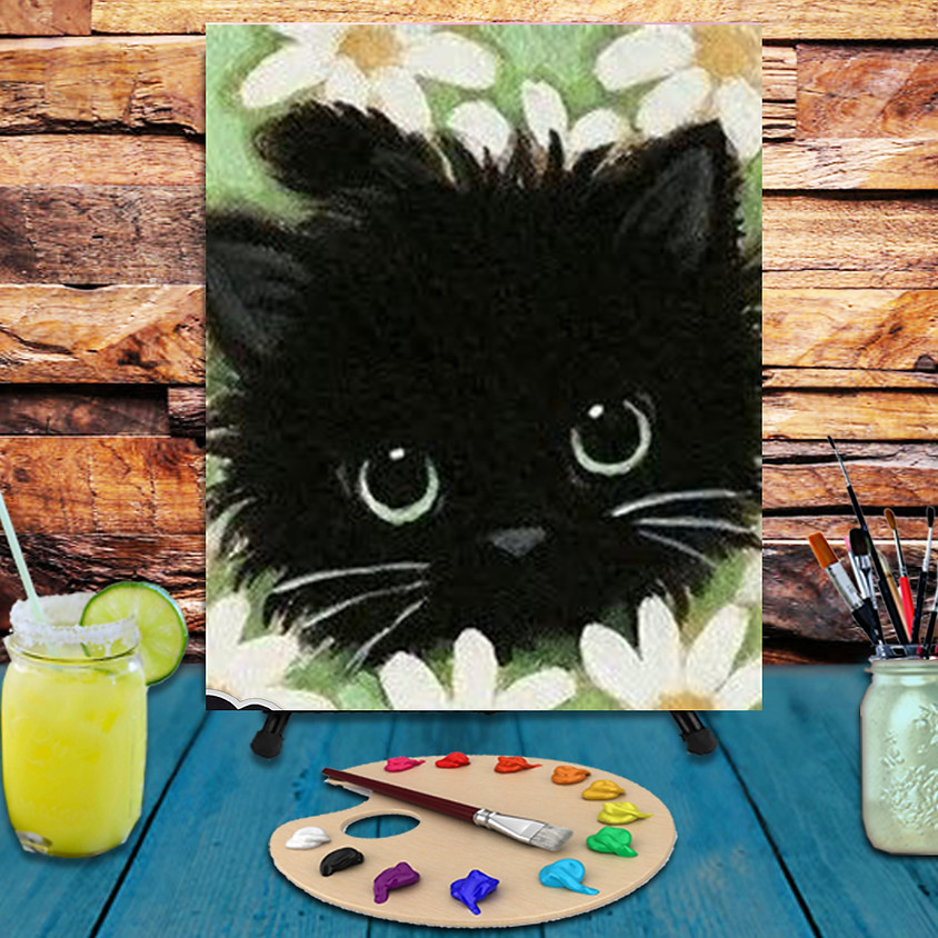 Kitty amongst Flowers -  Step by Step Painting Class