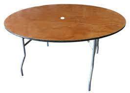 """Table 60"""" Round - Wood with Umbrella Hole"""