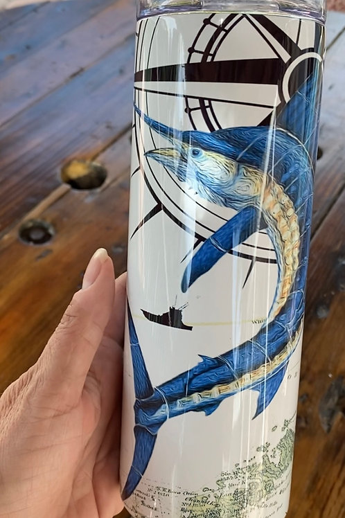 Assorted images. 20 oz Stainless Steel Tumbler with lid and straw
