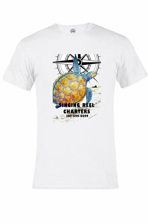 Sea Turtle Singing Reel Charters UV performance short sleeve T-shirt