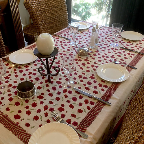 6 seat Rectangle Poppies Table Cloth