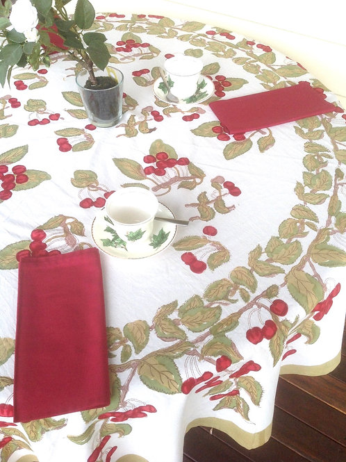 Couleur Nature Cherries  Round Table Cloth