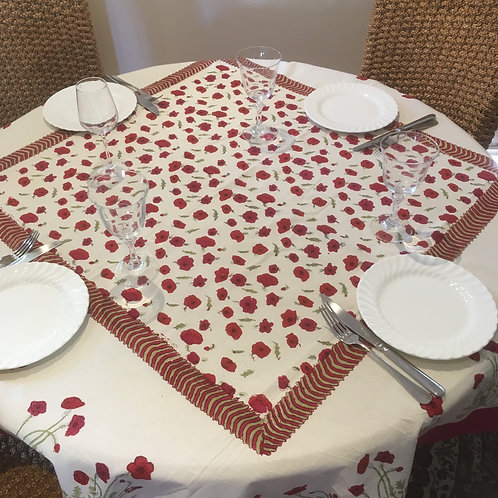 Small Square Poppy Table Cloth
