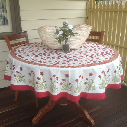 Couleur Nature Poppies  Round Table Cloth