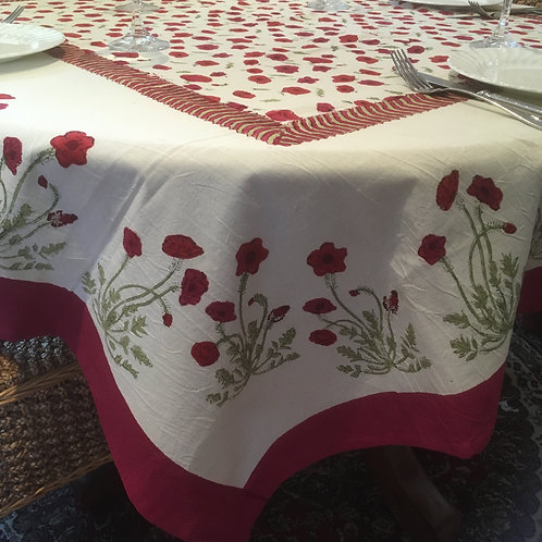 Large Square  Poppies Table Cloth