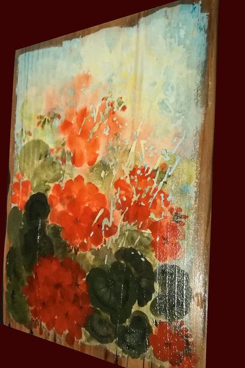 Рисувано пано върху дърво - ръчна изработка