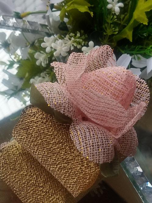 (20 unidades) Porta bem casados em Tela Escócia com flor em tela