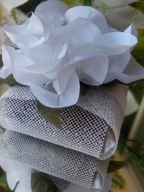 (20 unidades) Embalagem para bem casados em tela escócia lisa com flor de cetim