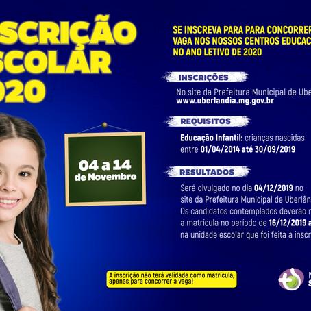 Inscrições para nossos Centros Educacionais 2020