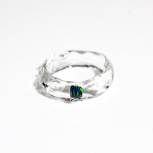 [No.0043] LUMIEF OPAL Straight Ring #12 Green Opal