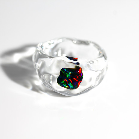 LUMIEF OPAL Rough Ring #8 Black Opal 0.41ct [No.0039]