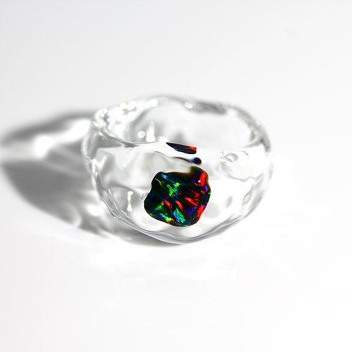 LUMIEF OPAL Rough Ring #8 Black Opal 0.41ct [No.0039]
