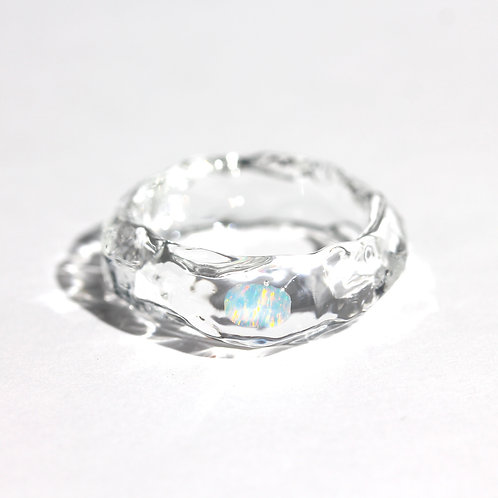 LUMIEF OPAL Straight Ring #14 White Opal [No.0016]