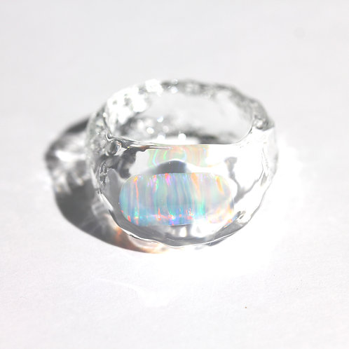 LUMIEF OPAL Rough Ring #11 White Opal 0.90ct [No.0018]