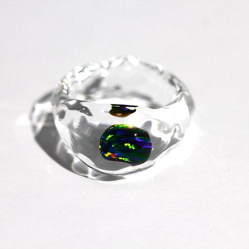 LUMIEF OPAL Rough Ring #9 Black Opal 0.58ct [No.0024]