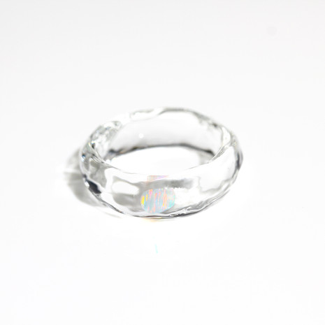 [No.0044] LUMIEF OPAL Straight Ring #13 White Opal