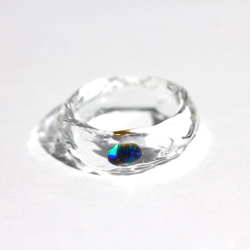 LUMIEF OPAL Straight Ring #12 Green Opal [No.0012]